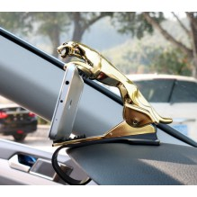 Держатель для телефона в автомобиль Леопард. Золото (ПОВРЕЖДЕНА/ПРИМЯТА УПАКОВКА)