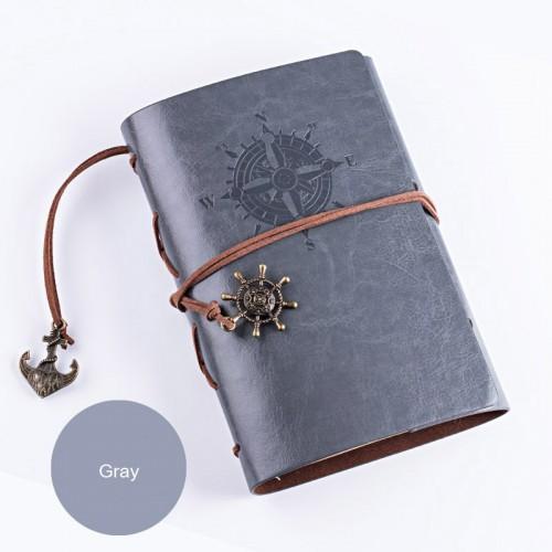 Покупка  Винтажный блокнот с якорем и штурвалом. Светло-серый в  Интернет-магазин Zelenaya Vorona™