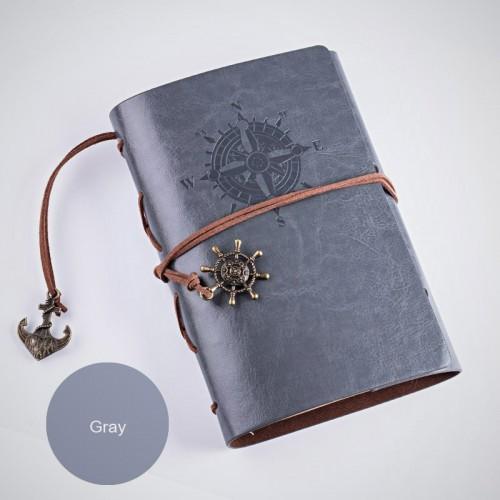 Покупка  Винтажный блокнот с якорем и штурвалом. Темно-серый в  Интернет-магазин Zelenaya Vorona™