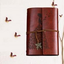 Винтажный блокнот Butterflies. Красно-коричневый