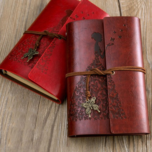 Винтажный блокнот Butterflies. Темно-красный  в  Интернет-магазин Zelenaya Vorona™ 2