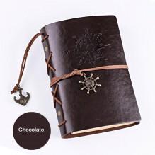 Винтажный блокнот с якорем и штурвалом. Шоколад