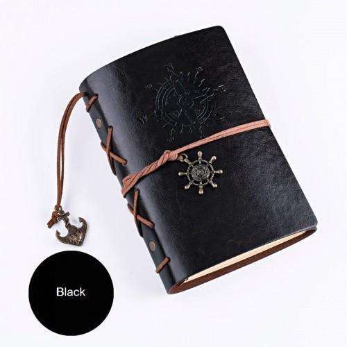 Покупка  Винтажный блокнот с якорем и штурвалом. Черный  в  Интернет-магазин Zelenaya Vorona™