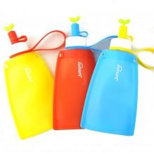 Силиконовая складная бутылка для воды Джумони. Желтая