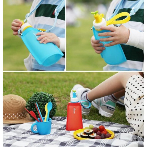 Силиконовая складная бутылка для воды Джумони. Желтая  в  Интернет-магазин Zelenaya Vorona™ 1