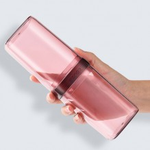 Дорожный футляр для зубной щетки и пасты. Прозрачный/Розовый