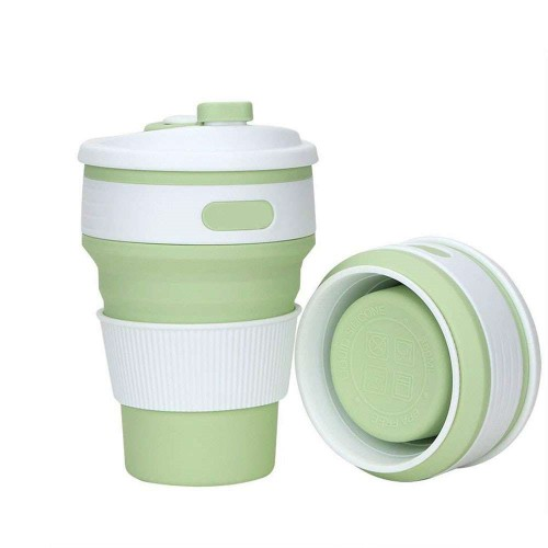 Покупка  Складная силиконовая чашка Collapsible. Mustard Green в  Интернет-магазин Zelenaya Vorona™