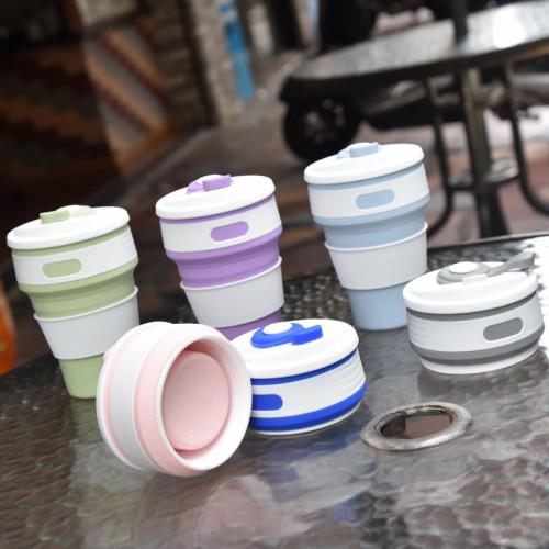 Складная силиконовая чашка Collapsible. Mustard Green  в  Интернет-магазин Zelenaya Vorona™ 7