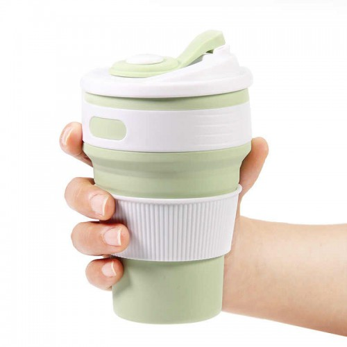 Складная силиконовая чашка Collapsible. Mustard Green  в  Интернет-магазин Zelenaya Vorona™ 1