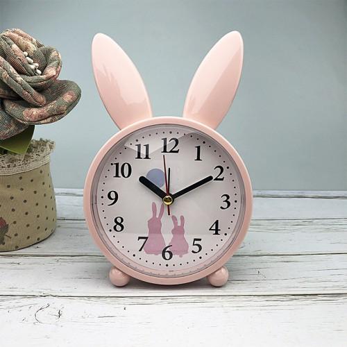 Покупка  Детские настольные часы-будильник Милый кролик. Светло-розовый в  Интернет-магазин Zelenaya Vorona™