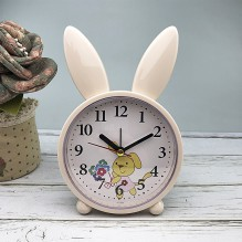 Детские настольные часы-будильник Милый кролик. Кремово-желтый
