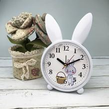Детские настольные часы-будильник Милый кролик. Серо-голубой