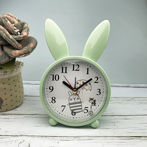 Покупка  Детские настольные часы-будильник Милый кролик. Светло-зеленый в  Интернет-магазин Zelenaya Vorona™