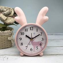 Детские настольные часы-будильник Олененок. Светло-розовый