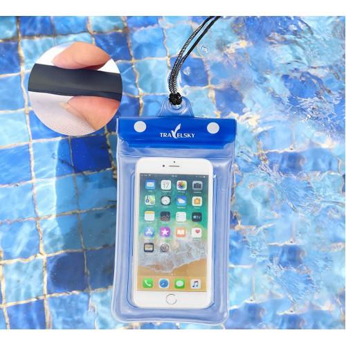 Водонепроницаемый чехол для телефона TravelSky. Прозрачный/синий  в  Интернет-магазин Zelenaya Vorona™ 4