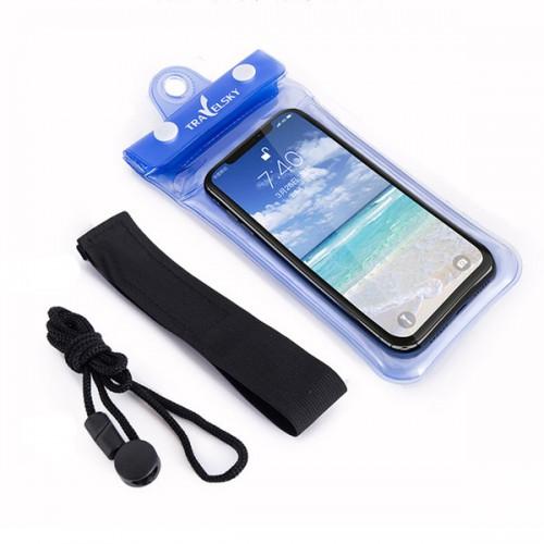Покупка  Водонепроницаемый чехол для телефона TravelSky. Прозрачный/синий в  Интернет-магазин Zelenaya Vorona™