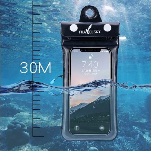 Водонепроницаемый чехол для телефона TravelSky. Прозрачный/черный  в  Интернет-магазин Zelenaya Vorona™ 9