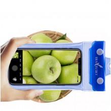 Водонепроницаемый чехол для телефона TravelSky. Прозрачный/синий