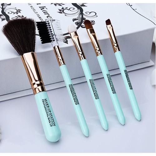 Покупка  Кисти для макияжа Lameila 5 шт/набор. Голубой в  Интернет-магазин Zelenaya Vorona™