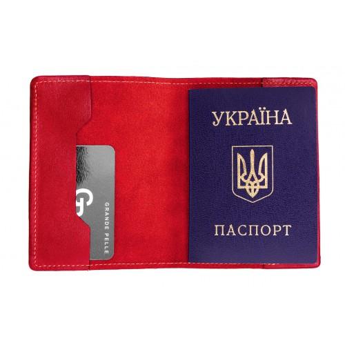 Обложка на паспорт Grande Pelle. Красная  в  Интернет-магазин Zelenaya Vorona™ 1
