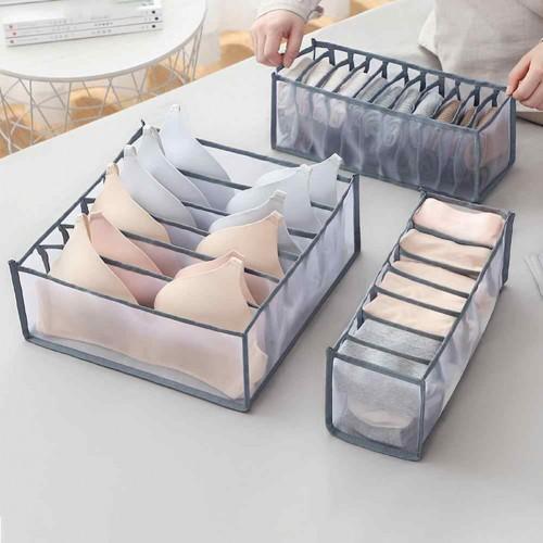 Набор органайзеров для белья Nylon mesh 3 шт. Серый  в  Интернет-магазин Zelenaya Vorona™ 1