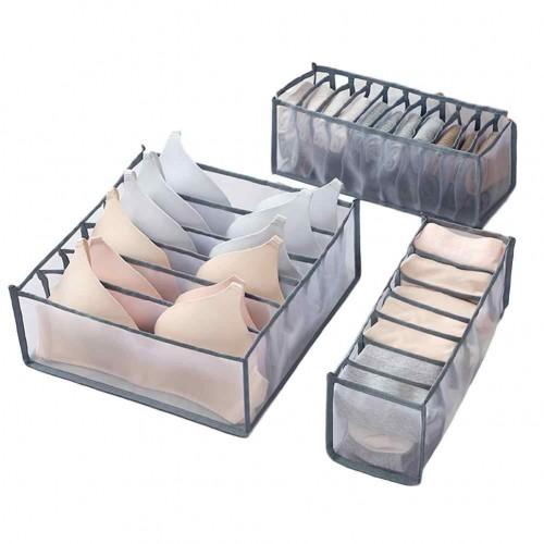 Покупка  Набор органайзеров для белья Nylon mesh 3 шт. Серый в  Интернет-магазин Zelenaya Vorona™