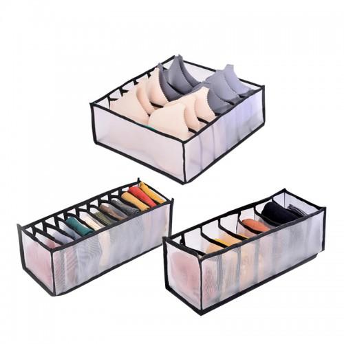 Покупка  Набор органайзеров для белья Nylon mesh 3 шт. Черный в  Интернет-магазин Zelenaya Vorona™