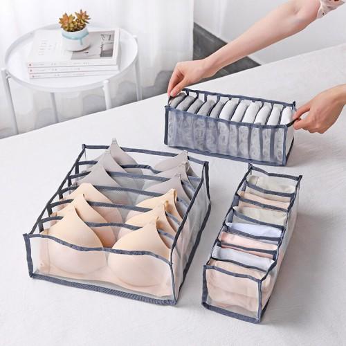 Набор органайзеров для белья Nylon mesh 3 шт. Серый  в  Интернет-магазин Zelenaya Vorona™ 3