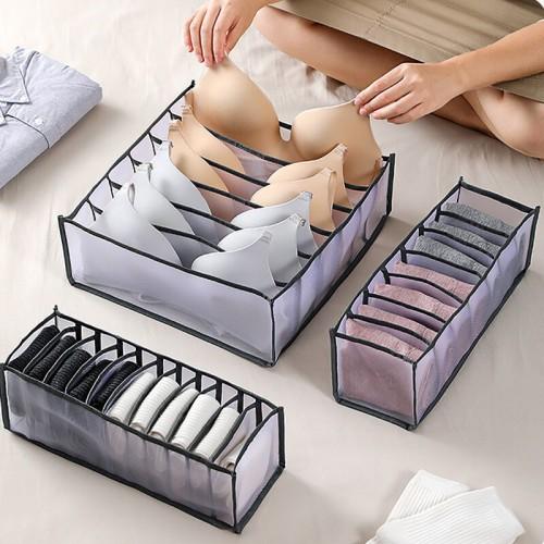 Набор органайзеров для белья Nylon mesh 3 шт. Черный  в  Интернет-магазин Zelenaya Vorona™ 1
