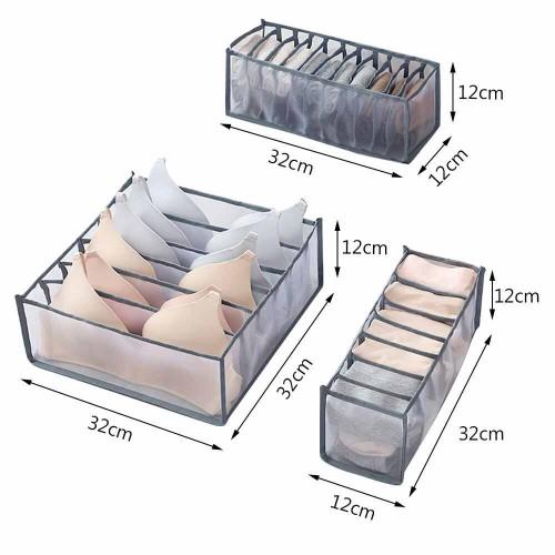 Набор органайзеров для белья Nylon mesh 3 шт. Серый  в  Интернет-магазин Zelenaya Vorona™ 7