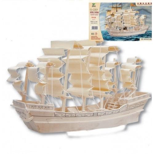 Покупка  3D Деревянный конструктор. Модель Корабль Парусник в  Интернет-магазин Zelenaya Vorona™