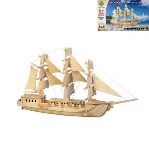 Покупка  3D Деревянный конструктор. Модель корабль Европейская Парусная лодка в  Интернет-магазин Zelenaya Vorona™