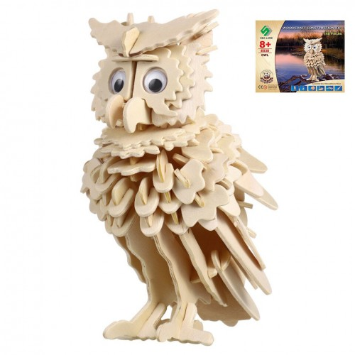 3D Деревянный конструктор. Модель Совенок  в  Интернет-магазин Zelenaya Vorona™ 1