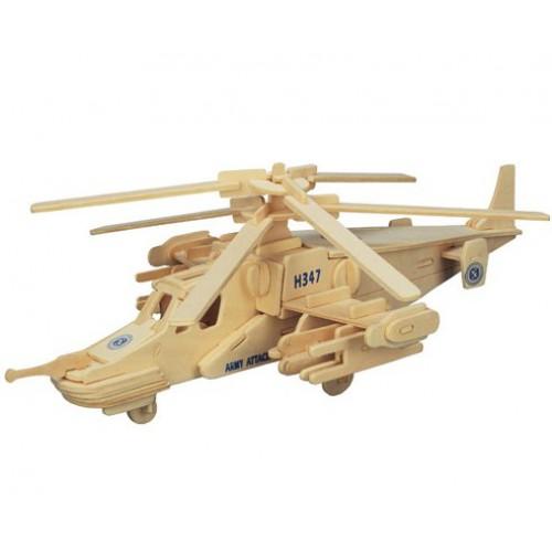 Покупка  3D Деревянный конструктор. Модель Вертолет КА-50 Черная акула в  Интернет-магазин Zelenaya Vorona™