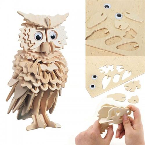 3D Деревянный конструктор. Модель Совенок  в  Интернет-магазин Zelenaya Vorona™ 2