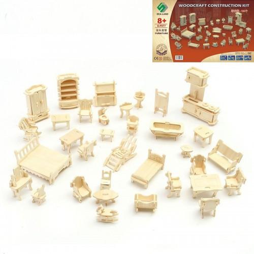 Покупка  3D Деревянный конструктор. Набор кукольной мебели в  Интернет-магазин Zelenaya Vorona™