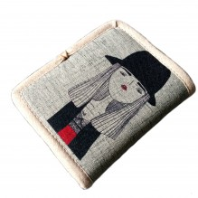 Текстильный кошелек Девушка в шляпе