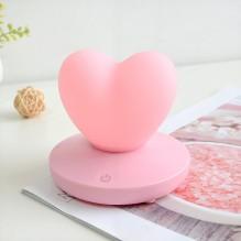 Силиконовый LED светильник-ночник Сердце. Розовый