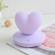 Силиконовый LED светильник-ночник Сердце. Светло-фиолетовый