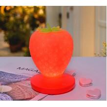 Силиконовый LED светильник-ночник Клубника. Красный