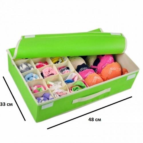 Комбинированный органайзер для нижнего белья с крышкой. Зеленый  в  Интернет-магазин Zelenaya Vorona™ 4