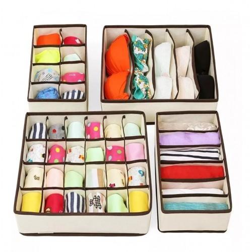 Покупка  Набор органайзеров для белья 4 шт. Бежевый  в  Интернет-магазин Zelenaya Vorona™