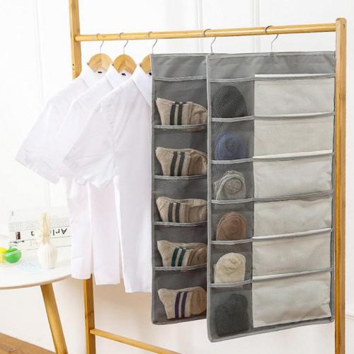 Двухсторонний органайзер для хранения вещей 12+18 карманов. Серый  в  Интернет-магазин Zelenaya Vorona™ 1