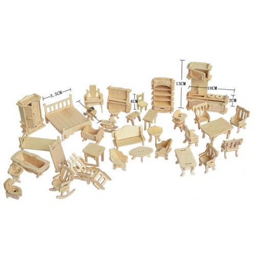 3D Деревянный конструктор. Набор кукольной мебели  в  Интернет-магазин Zelenaya Vorona™ 1