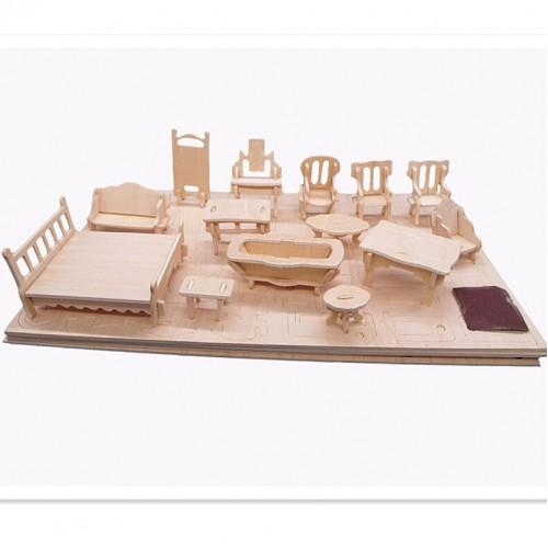 3D Деревянный конструктор. Набор кукольной мебели  в  Интернет-магазин Zelenaya Vorona™ 2