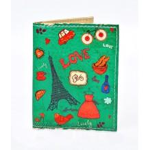 Обложка на ID паспорт Lovely. Зеленый