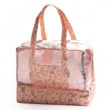 Пляжная сумка Weekeight. Нежно-розовый листья