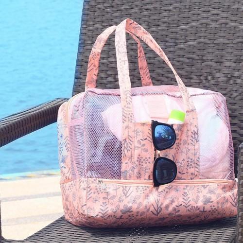 Пляжная сумка Weekeight Листья. Нежно-розовая  в  Интернет-магазин Zelenaya Vorona™ 1