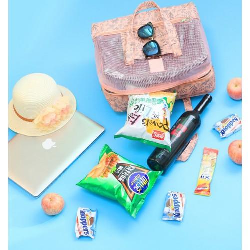 Пляжная сумка Weekeight Листья. Нежно-розовая  в  Интернет-магазин Zelenaya Vorona™ 2