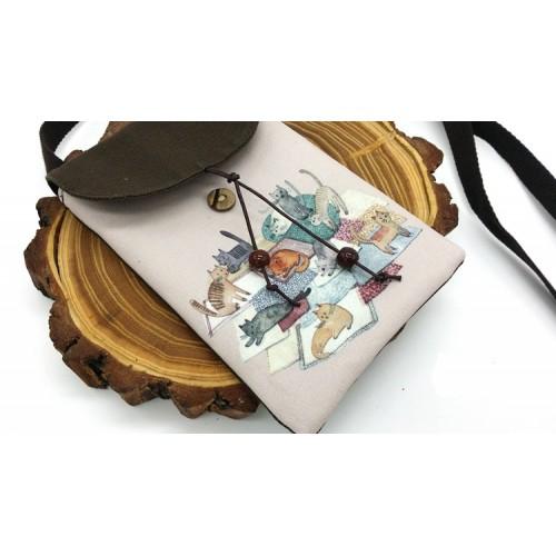 Женская сумка-кошелек Cats текстильная  в  Интернет-магазин Zelenaya Vorona™ 2